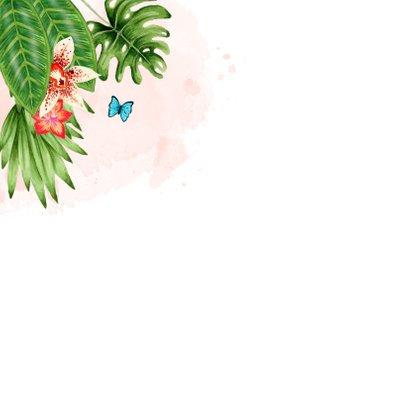 Geboortekaartje botanical jungle hartjes meisje Achterkant
