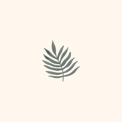Geboortekaartje botanisch bladeren pastel Achterkant