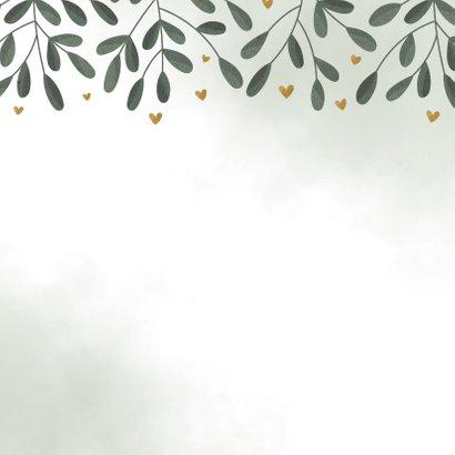 Geboortekaartje botanisch met waterverf en hartjes Achterkant