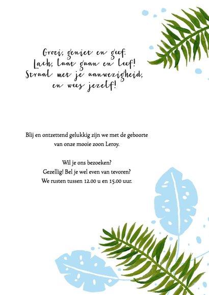 Geboortekaartje botanisch tropisch blauw 3