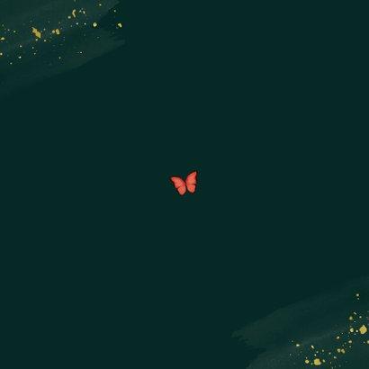 Geboortekaartje botanisch vlinders jongen tropisch Achterkant