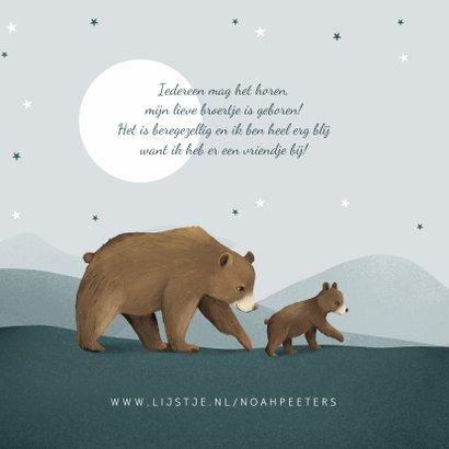 Geboortekaartje broertje dieren beren familie sterren 2