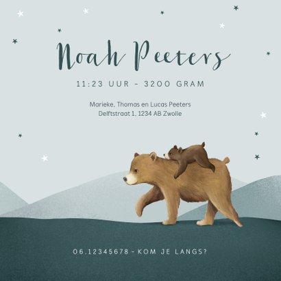 Geboortekaartje broertje dieren beren familie sterren 3