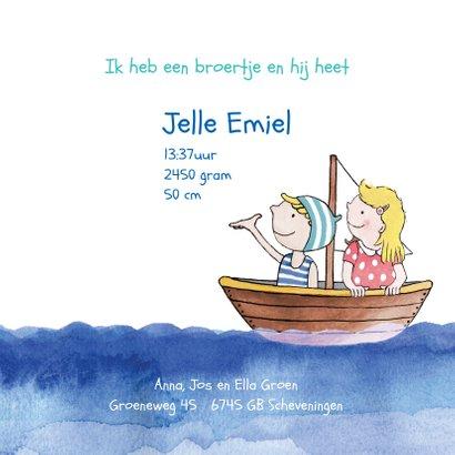 Geboortekaartje broertje illustratie bootje op zee blond 3