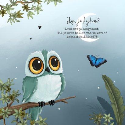Geboortekaartje broertje uil vlinders jungle boom sterren 2