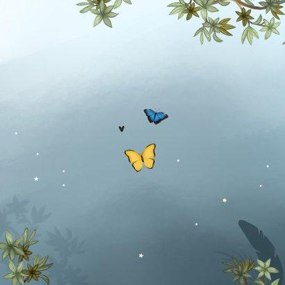 Geboortekaartje broertje uil vlinders jungle boom sterren Achterkant