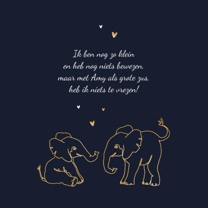 Geboortekaartje broertje zusje dieren olifant goud hartjes 2