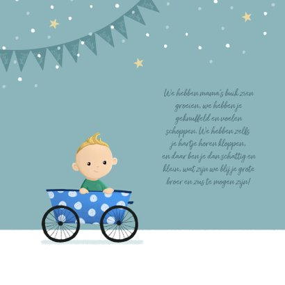 Geboortekaartje broertje zusje fiets feestje slingers 2