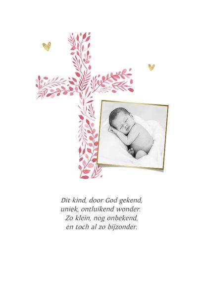 Geboortekaartje christelijk meisje roze hartjes goud foto 2