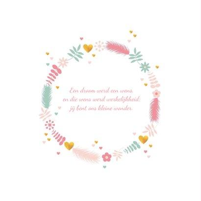 Geboortekaartje cirkel van takjes, bloemen en harten 2