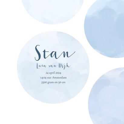 Geboortekaartje cirkels hartje lichtblauw 3
