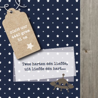 Geboortekaartje donkerblauw met sterren en hout 2