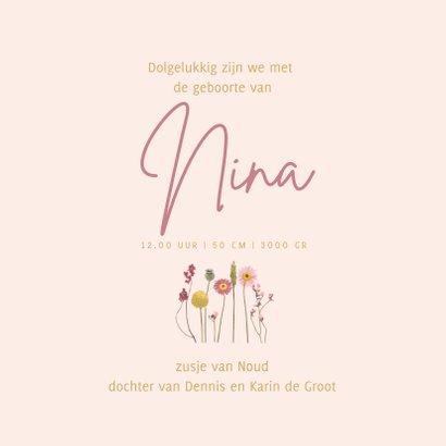 Geboortekaartje droogbloemen roze vierkant 3