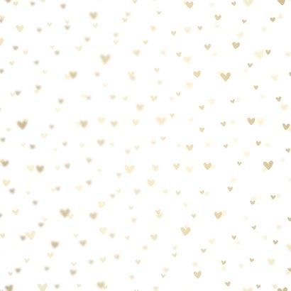 Geboortekaartje dwarrelhartjes goudlook Achterkant