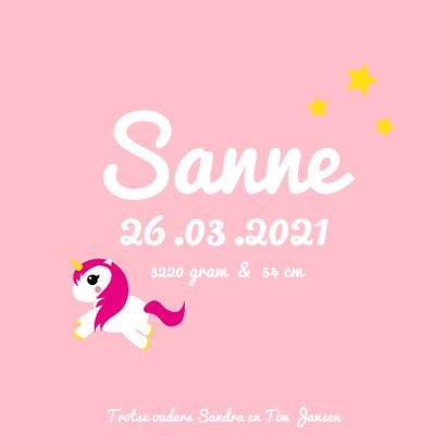 Geboortekaartje eenhoorn met roze haar en sterretjes 3