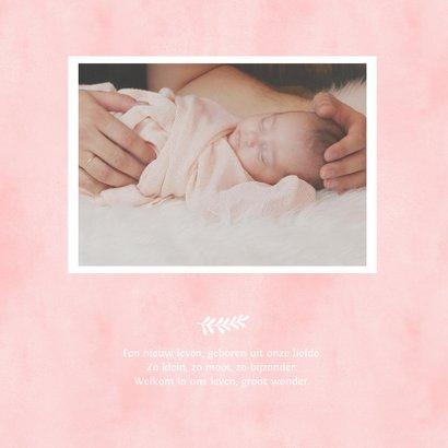 Geboortekaartje eenvoudig wit met roze waterverf hart 2