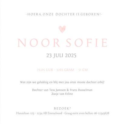 Geboortekaartje eenvoudig wit met roze waterverf hart 3