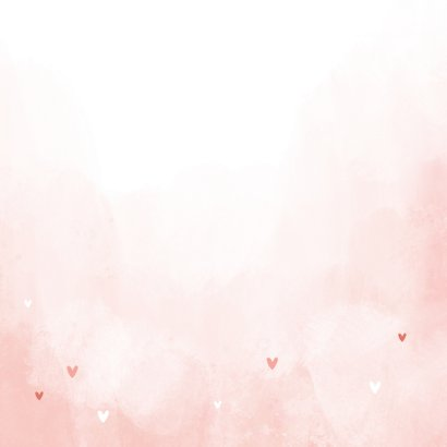 Geboortekaartje flamingo hartjes meisje verf kroontje Achterkant