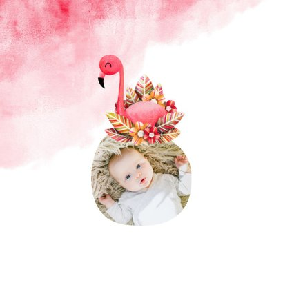 Geboortekaartje flamingo met bladeren en waterverf 2