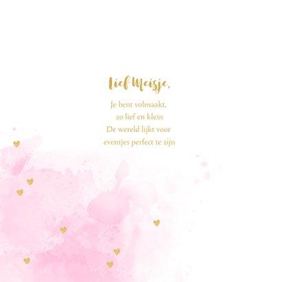 Geboortekaartje foto hartje aquarel roze  2