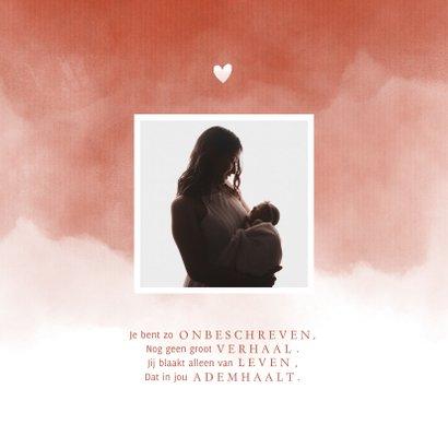 Geboortekaartje foto terra roze waterverf met hartje 2