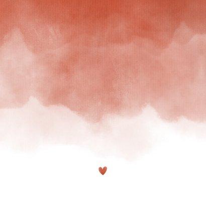 Geboortekaartje foto terra roze waterverf met hartje Achterkant