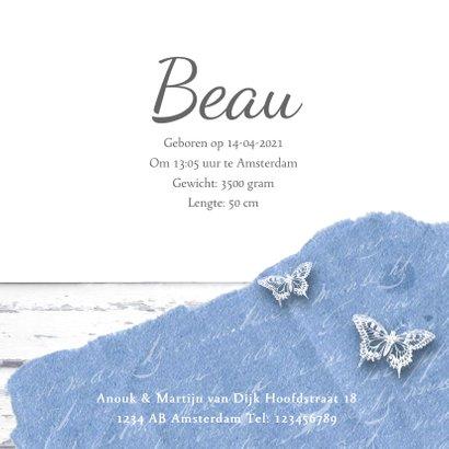 Geboortekaartje fotolijstje hartjes vlinders lichtblauw 3