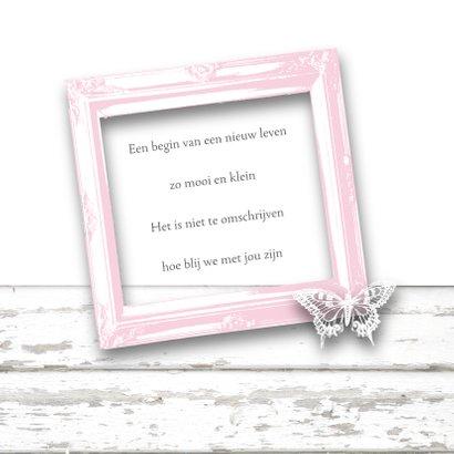 Geboortekaartje fotolijstje vlinders hartjes roze 2