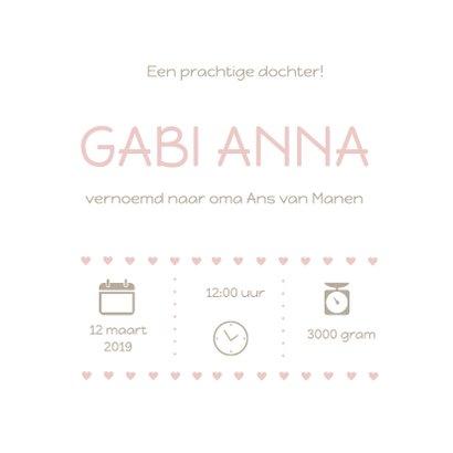 Geboortekaartje Gabi roze hart 3