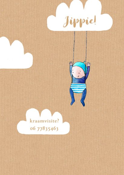 Geboortekaartje getekend  wolk  Jongen 2