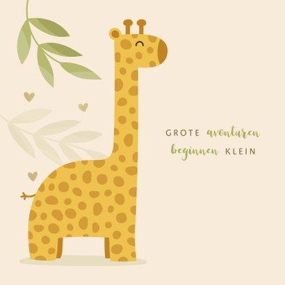 Geboortekaartje giraf botanisch met gouden hartjes 2