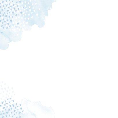 Geboortekaartje giraf hartjes blauw waterverf Achterkant