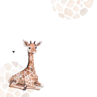 Geboortekaartje giraf patroon lief jongen  meisje hartjes 2