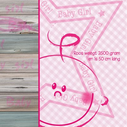 Geboortekaartje GIRL ruit hout  2
