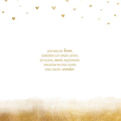 Geboortekaartje gouden achtergrond met hartjes 2