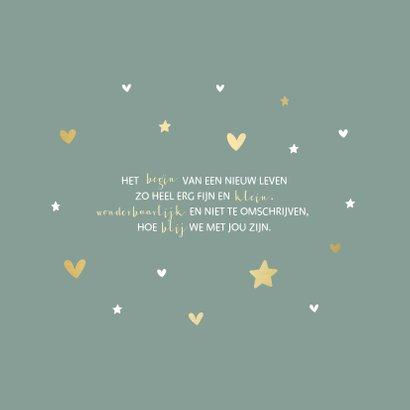 Geboortekaartje gouden hartjes en sterren aanpasbaar 2