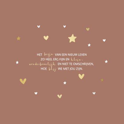 Geboortekaartje gouden sterren en hartjes aanpasbaar 2