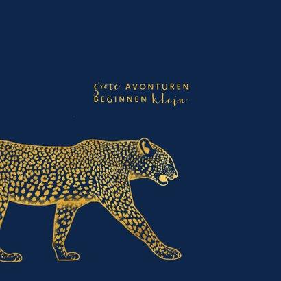 Geboortekaartje goudlook leopard aanpasbare kleur 2