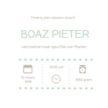 Geboortekaartje groen hart Boaz 3