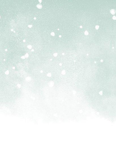Geboortekaartje groene waterverf en witte confetti Achterkant