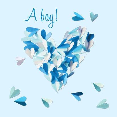 Geboortekaartje hart blauw confetti hartjes jongen 2
