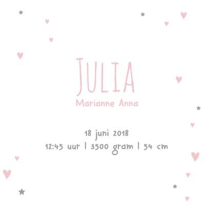 Geboortekaartje hart Julia 3