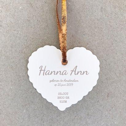 Geboortekaartje hart label koper 3