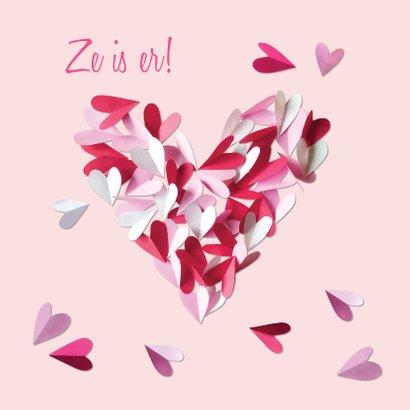 Geboortekaartje hart meisje confetti 2