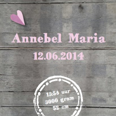 Geboortekaartje hart meisje hout 3