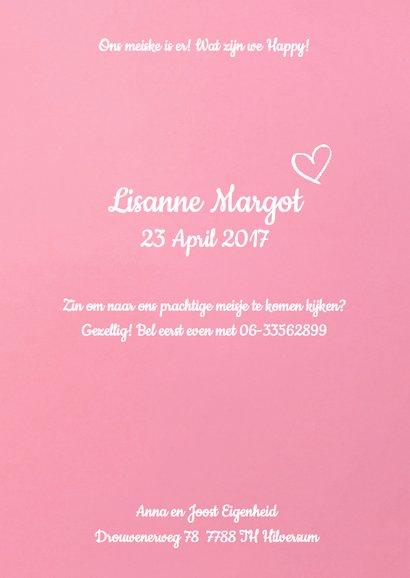 Geboortekaartje hartje label kralen roze 3