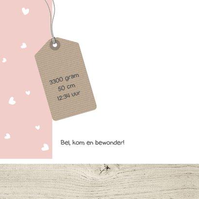Geboortekaartje hartjes en hout 2