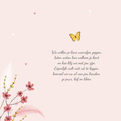 Geboortekaartje hartjes foto vlinder bloemen lief 2