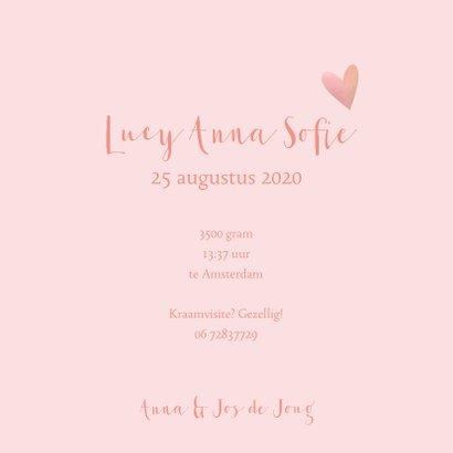 Geboortekaartje hartjes illustratie meisje roze 3