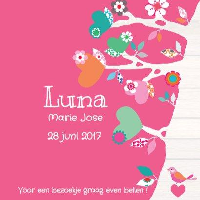 Geboortekaartje Hartjesboom Luna 3